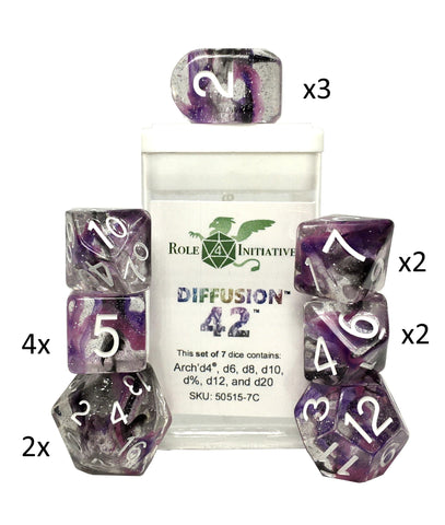 Set of 15 large high-visibility game dice: Diffusion Forty Two w/ Arch'd4
