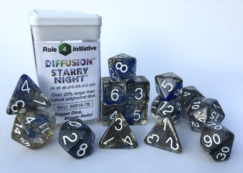 Set of 7 large high-visibility game dice: Diffusion Starry Night w/ White Nums