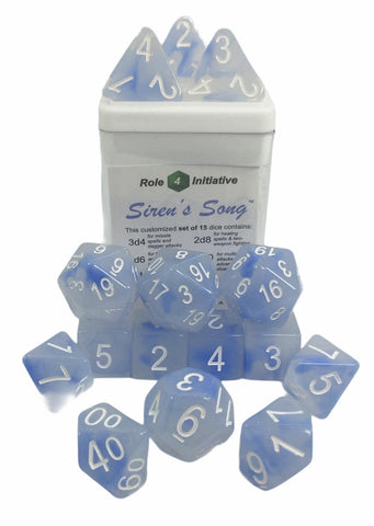 Set of 15 large high-visibility game dice: Siren's Song w/ White Numbers