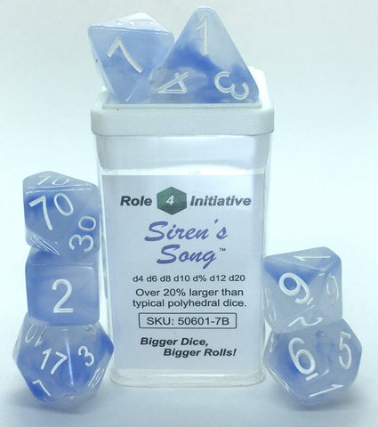 Set of 7 large high-visibility game dice: Siren's Song w/ White Numbers