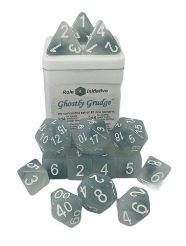 Set of 15 large high-visibility game dice: Ghostly Grudge w/ White Numbers