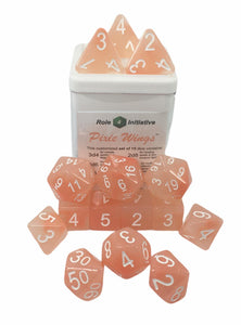 Set of 15 large high-visibility game dice: Pixie Wings w/ White Numbers