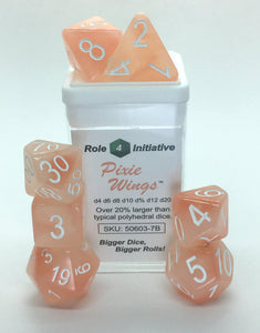 Set of 7 large high-visibility game dice: Pixie Wings w/ White Numbers