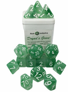 Set of 15 large high-visibility game dice: Dryads Grove w/ White Numbers