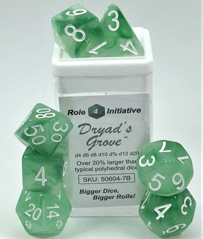 Set of 7 large high-visibility game dice: Dryads Grove w/ White Numbers
