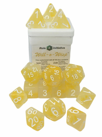 Set of 15 large high-visibility game dice: Will-o-Wisp w/ White Numbers