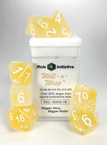 Set of 7 large high-visibility game dice: Will-o-Wisp w/ White Numbers