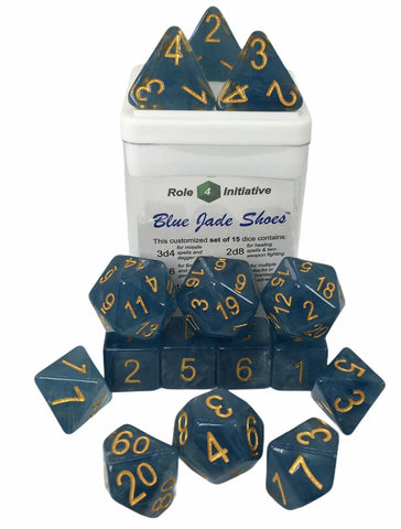 Set of 15 large high-visibility game dice: Blue Jade Shoes w/ Metallic Gold Nums