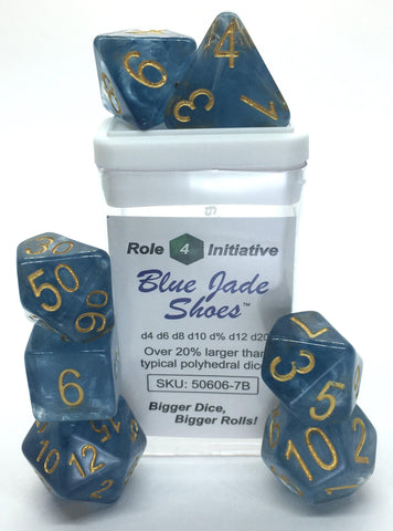 Set of 7 large high-visibility game dice: Blue Jade Shoes w/ Metallic Gold Nums