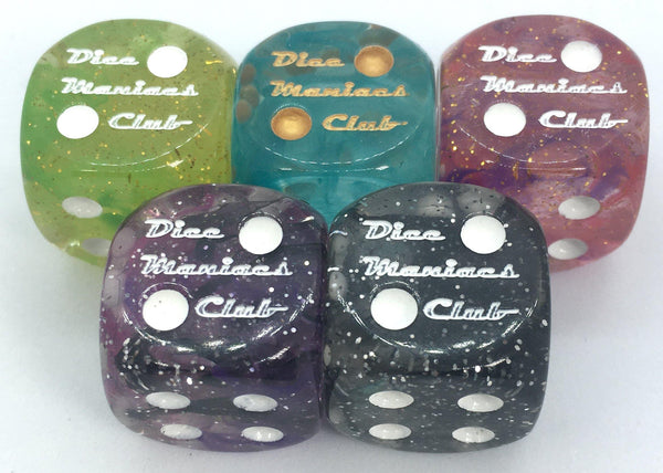 Diffusion 18mm pipped d6 collection - Dice Maniacs Club - Rainbow 3 - limited edition
