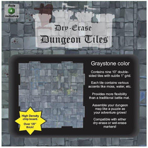 "Dry Erase Dungeon Tiles, Graystone - Pack of 9 10"" square tiles"
