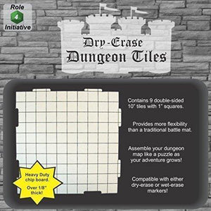 "Dry Erase Dungeon Tiles, White - Pack of 9 10"" square tiles"