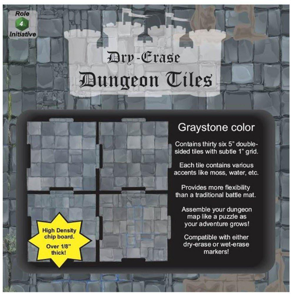 "Dry Erase Dungeon Tiles, Graystone - Pack of 36 5"" square tiles"