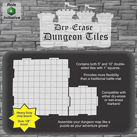 "Dry Erase Dungeon Tiles, White - Pack of 5 10"" and 16 6"" square tiles"
