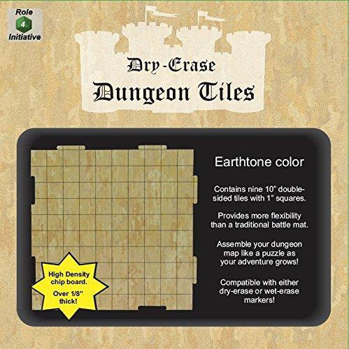 "Dry Erase Dungeon Tiles, Earthtone - Pack of 9 10"" square tiles"