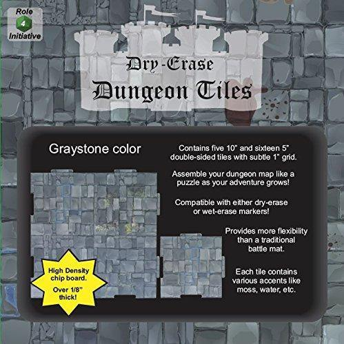 "Dry Erase Dungeon Tiles, Graystone - Pack of 5 10"" and 16 5"" square tiles"