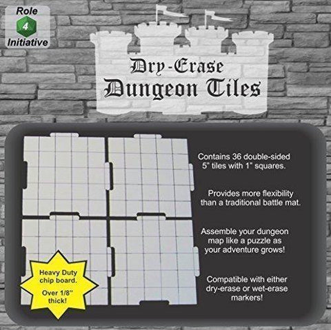 "Dry Erase Dungeon Tiles, White - Pack of 36 5"" square tiles"