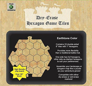 "Dry Erase Dungeon Tiles, Earthtone - Pack of 33 6""  hex tiles"