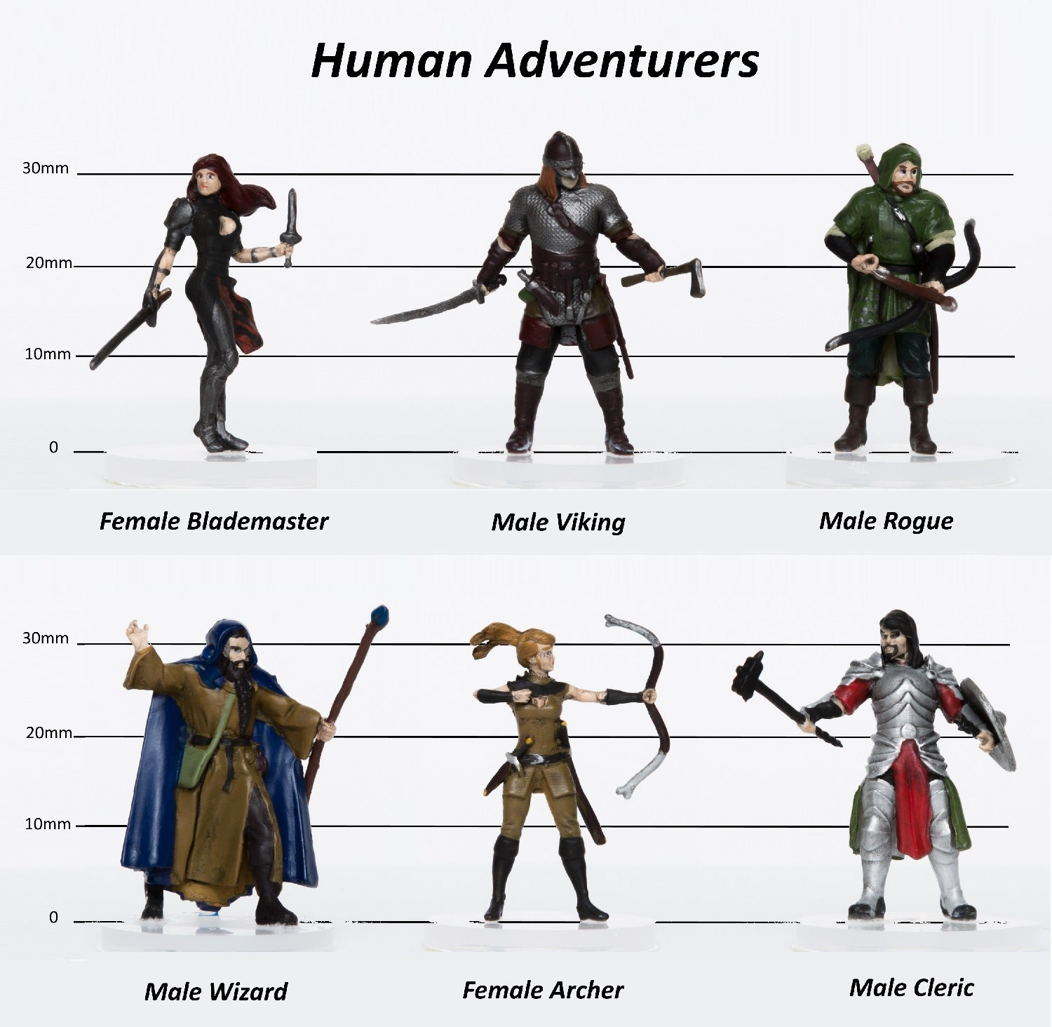 Human Adventurers Party of 6 - Set A - 28mm Plastic Minis