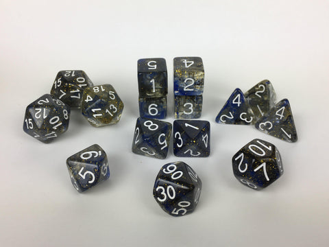 Set of 15 large high-visibility game dice: Diffusion Starry Night w/ White Nums