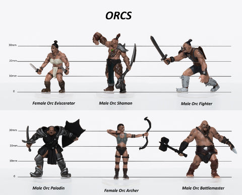 Orcs Party of 6 - Set A - 28mm Plastic Minis