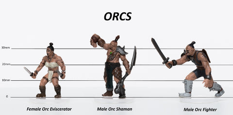 Orcs Group of 3 - Set C - Eviscerator, Shaman, Warrior - 28mm Plastic Minis