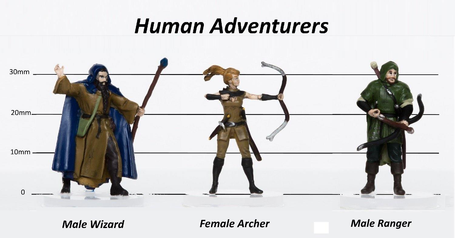 Human Adventurers Group of 3 - Set B - Archer, Wizard, Ranger - 28mm Plastic Minis