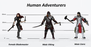 Human Adventurers Group of 3 - Set C - Blademaster, Viking, Cleric - 28mm Plastic Minis