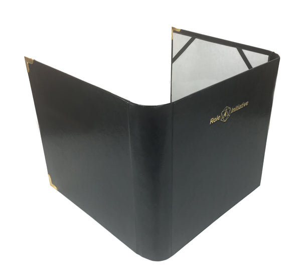 Three-panel faux leather DM screen / accessories folder w/ R4I logo