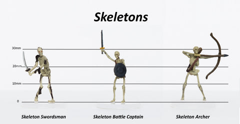 Skeletons Group of 3 - Set C - Swordsman, Battle Captain, Archer - 28mm Plastic Minis