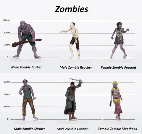 Zombies Party of 6 - Set A - 28mm Plastic Minis