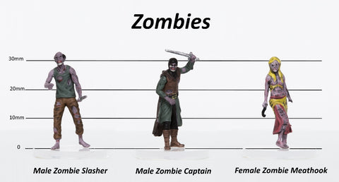 Zombies Group of 3 - Set C - Slasher, Captain, Butcher - 28mm Plastic Minis