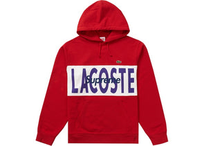 Supreme LACOSTE Logo Panel Hooded Sweatshirt Red