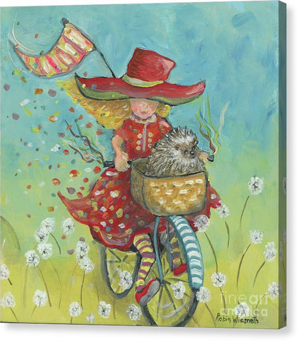 Hedgehogs And Dandelions - Canvas Print