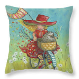 Hedgehogs And Dandelions - Throw Pillow