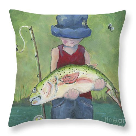Pocket Fisherman - Throw Pillow