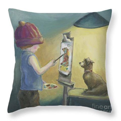 Tiny Artist - Throw Pillow