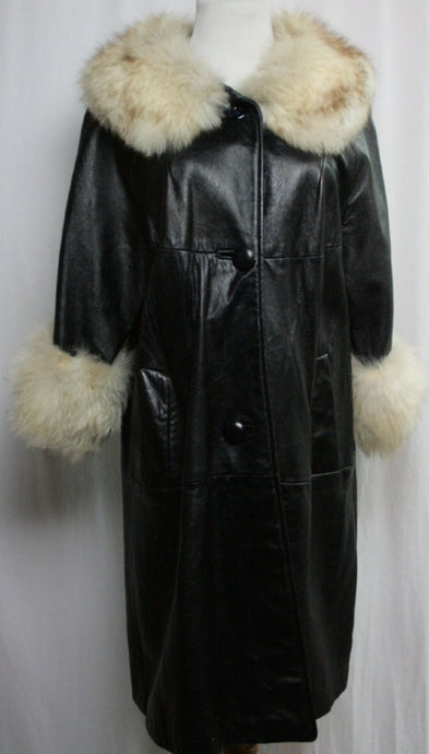 Mid Length Leather Trench with Vintage Fur