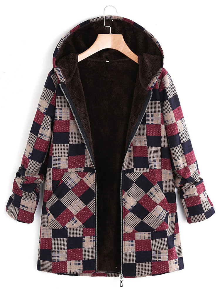 6fd440a08f7 Women Burgundy Long Sleeve Plaid Hoodie Coats