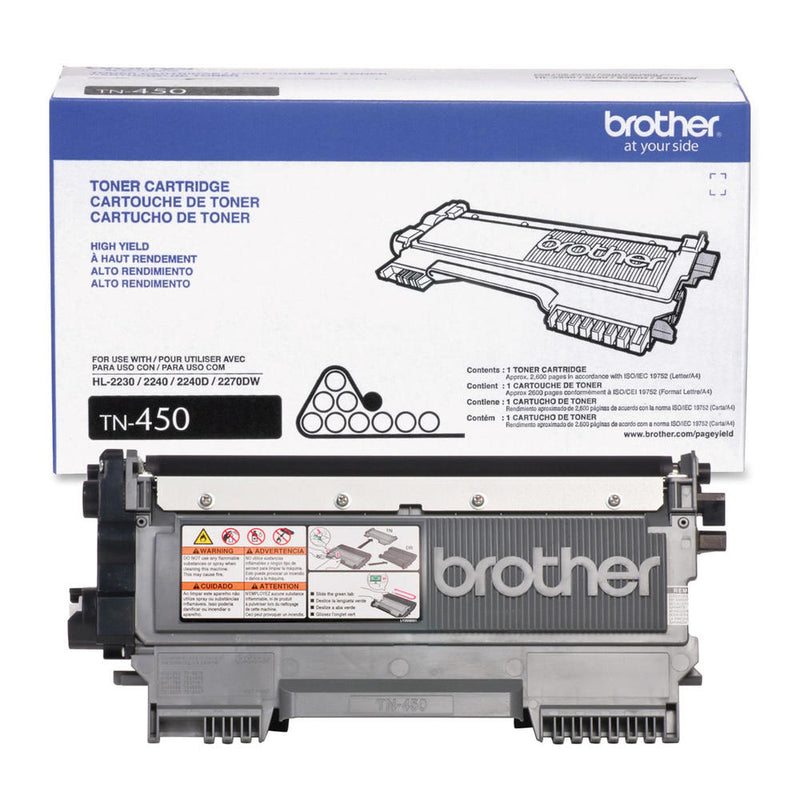 TN450 - Cartouche laser originale Brother TN450 - Noire - 2 600 pages à 5% de couverture de page Compatible : HL-2240 Series IntelliFax-2940 IntelliFax-2840 HL-2270DW HL-2275DW MFC-7365DN HL-2280DW HL-2220 DCP-7065DN MFC-7460DN MFC-7860DW MFC-7240 MFC-7360N DCP-7060D HL-2230