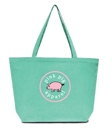 Pink Pig Sea Glass Tote Bag