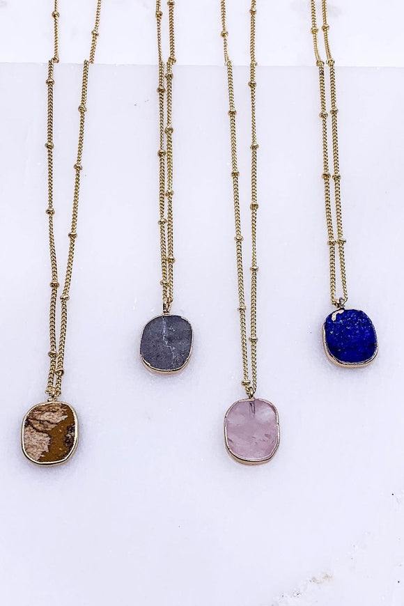 Electroplated Stone Necklace
