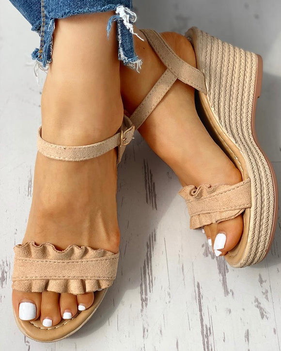 Ruffle Wedge Sandal
