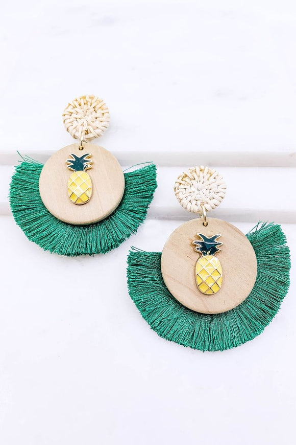 Pineapple Tassel Earrings