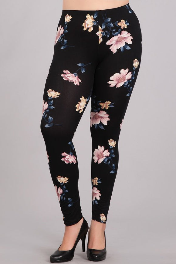 Black Floral Plus Leggings