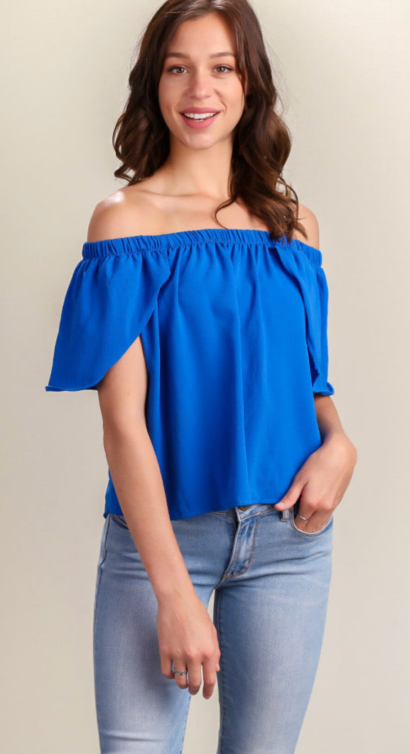 Royal Cold Shoulder Top