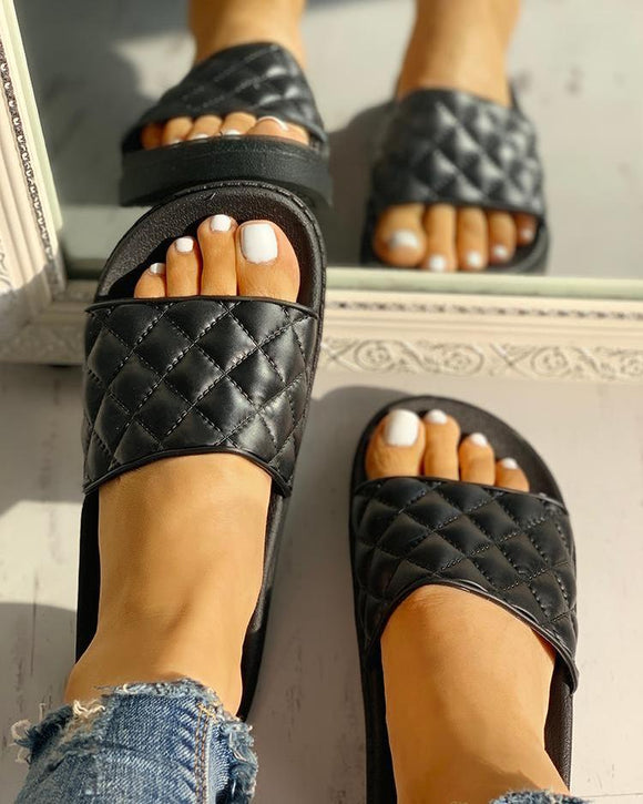Quilted Slide Sandals