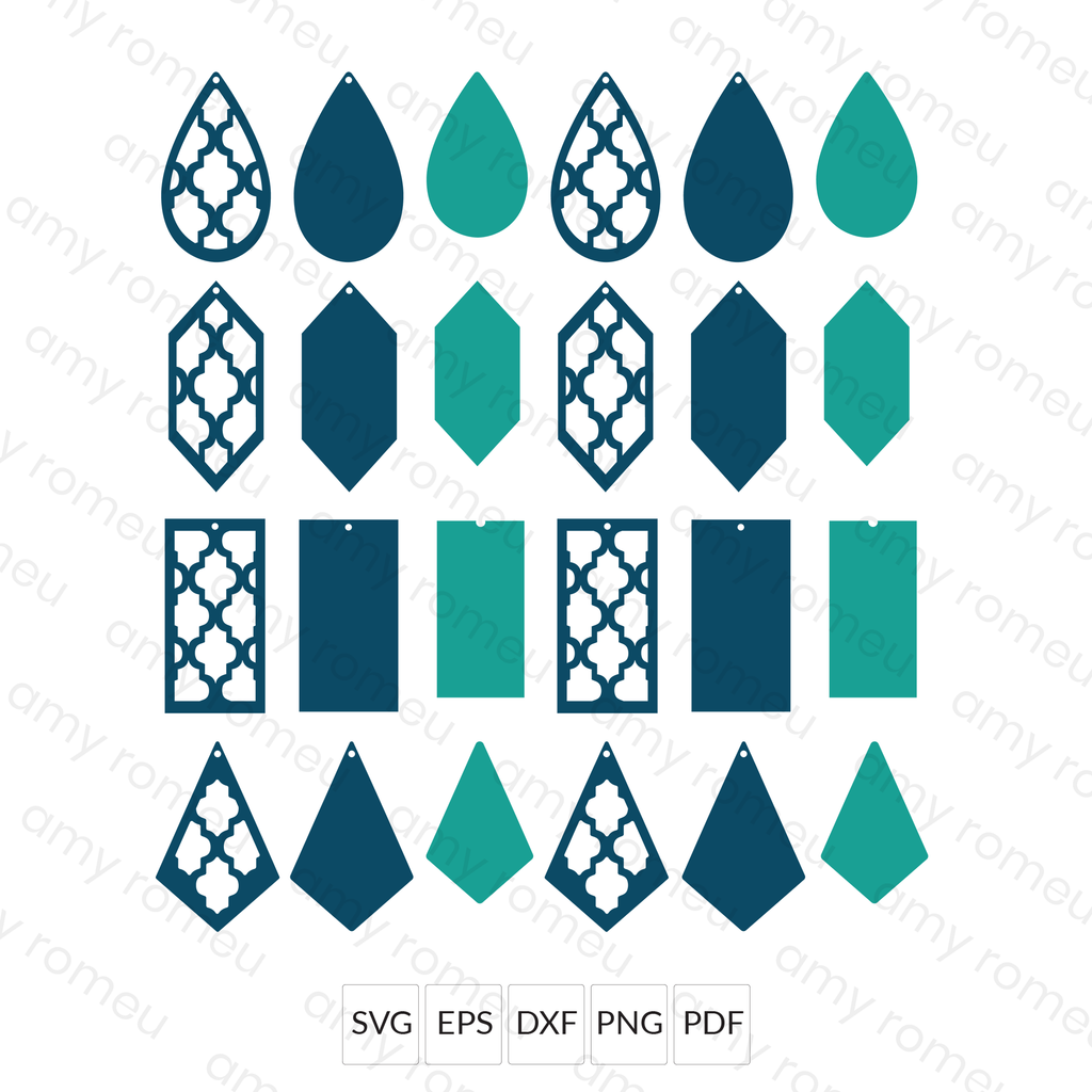 Quatrefoil Cut Out Earrings SVG File