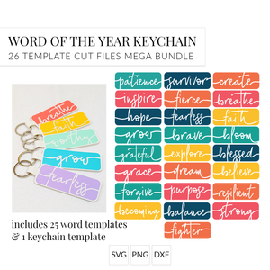 Word of the Year Keychains - 26 Template Mega Bundle