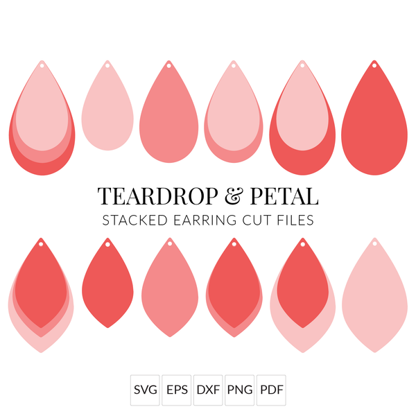 Teardrop & Petal Faux Leather Earrings SVG Cut Files for Cricut & Silhouette
